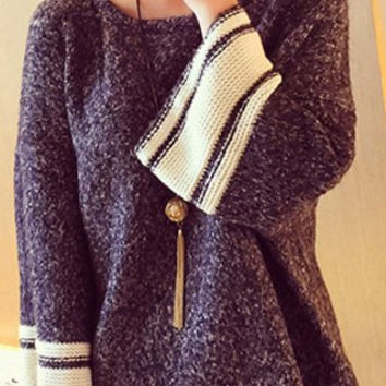 White and Gray Pullover Sweater