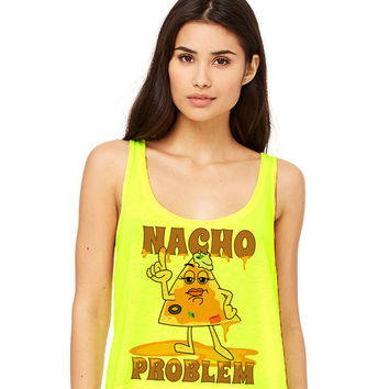 Neon Yellow Cropped Tank Top - Nacho Problem - Summer Outfit Spring Food Pun Funny