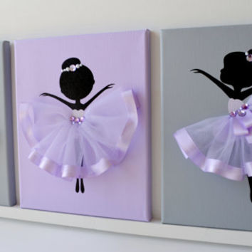 Dancing Ballerinas Wall Decor. Nursery wall art in lavender, purple and grey.