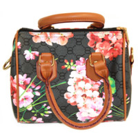Black Monogram Handbag With Bloom Print