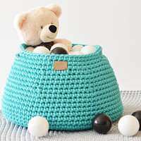 Crocheted storage basket / knitted laundry basket / handmade toy basket / storing basket / storage bin / nursery storage