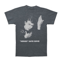 David Bowie Men's  Heroes Slim Fit T-shirt Heather Navy