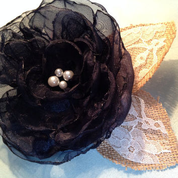 Shabby Chic Rustic Country Cowboy Wedding Hair Accessory- Navy Organza Flower (peony style), Ivory Lace and Burlap leaves