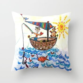 :: Row, Row, Row Your Boat :: Throw Pillow by :: GaleStorm Artworks ::