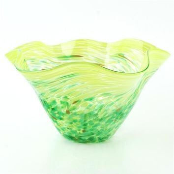 Mini Green Floppy Bowl - Hand Blown Glass Bowl by Glass Eye Studio Containing Volcanic Ash from the 1980 Eruption of Mount St. Helens