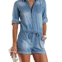 Button-Up Chambray Romper by Charlotte Russe - Med Wash Denim