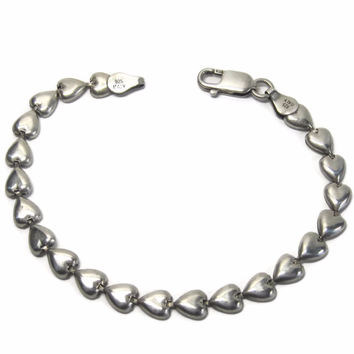 Vintage Italian Sterling Heart Bracelet 7.5 Inches