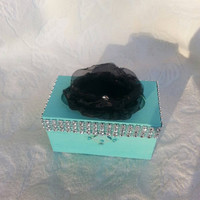 Wedding ring pillow alternative ring bearer Box with Bling rhinestones and black Organza Flower