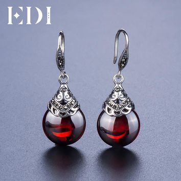 EDI Retro Round Garnet Earrings Female 925 Sterling Silver Jewelry