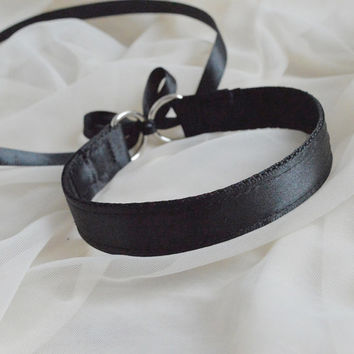 Collar base for crafting your very own cat pet ddlg play collar at home - black satin on webbing