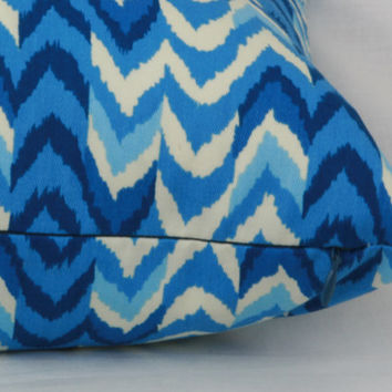 "Blue & creme decorative throw pillow cover. 20"" x 13"" lumbar pillow cover. Waverly pillow cover."