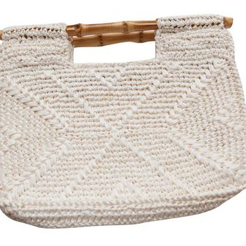Vintage 1970s Cream Crochet Clutch Bag with Bamboo handles