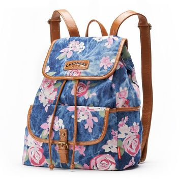 Unionbay Burnout Denim Floral Mini Backpack (Blue)