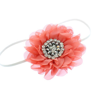 Baby/Toddler Vintage Jeweled Chiffon Flower Skinny Headband