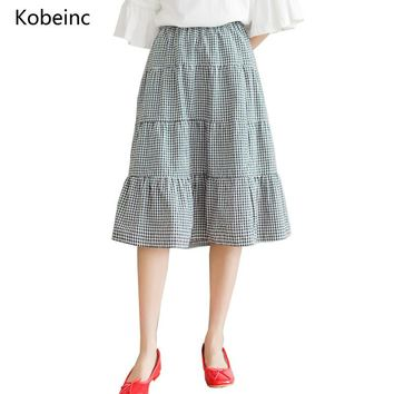 Kobeinc Vintage Plaid Skirt 2017 Summer Girls Long Skirts A-Line Elastic Waist Falda Mujeres Casual All-Match Jupes Hot Sale