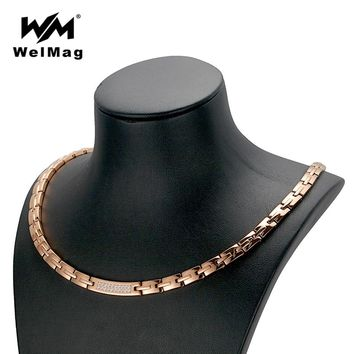 WelMag ping Rose Gold Necklace Women's Crystal Jewelry Stainless Steel Blood Pressure Hematite Magnetic Necklaces New