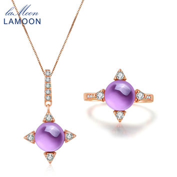 LAMOON Cross star 2.2ct Natrual Amethyst 925 sterling-silver-jewelry Rose Gold Jewelry Set Necklace Rings S925 Women V009-3
