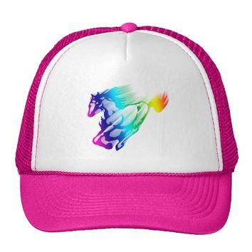 Running Rainbow Horse With Motion Trail Trucker Hat
