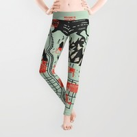 Twin Peaks Map Leggings by Robert Farkas