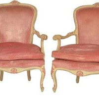 One Kings Lane - Herringbone Home - Italian-Style Painted Fauteuils, Pair