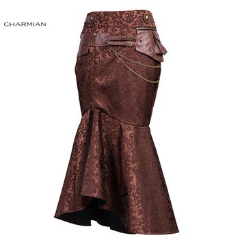 Vintage Victorian Goth Steampunk Skirts for Women Brown Pouch Chain Slim Evening Party Long Fishtail Skirt