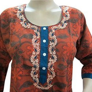 Indian Ethnic Tunic Dress Kurtis Floral Embroidery Brown Kurta
