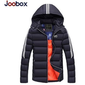 Joobox Men Padded Cotton Hooded Coat Winter Warm Jacket Outdoors Thickening Outwear Coats Thick Clothing Male Casual Zipper Down Parkas