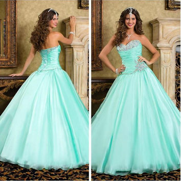 2016 New Sweetheart Beads Mint corset Quinceanera Dresses Floor Length Plus Size Sweet Ball Gown Prom Party Gowns For Wedding