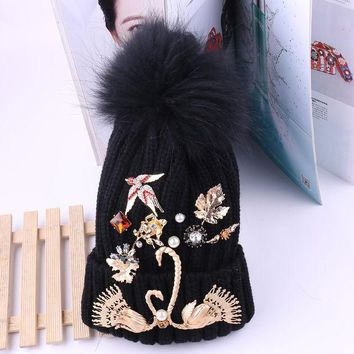 DCCKJG2 2017 Rabbit Fur Ball Winter Warm Hats Knitted Wool Beanies Cap Baroque Gold Swan Flower Leaves Outdoor Swallow Charms Gorro Cap