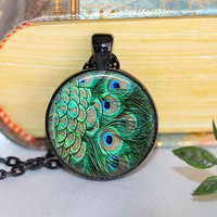 Peacock Pendant Peacock Necklace Aqua Turquoise Orange Red Blue Green Silver Jewelry Necklace for him Gifts for Her