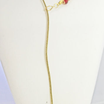 Lariat, Swarovksi Crystal, Metal Mesh Lariat, Red Crystal Bead Stations, Y Gold and Red Necklace, Long Necklace, Demure and Elegant Necklace