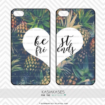 Best Friends Pineapple Case / Cute Summer BFF Trendy Cases Set iPhone 4s, 5s, 5c, 6, 6 Plus, Samsung s3, s4, s5 Set of 2