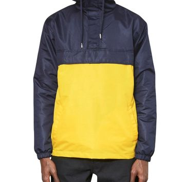 The Idle Man Overhead Pullover Jacket Navy & Yellow