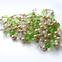 5 ft lime green glass bead chain , handmade, faux antique glass pearls