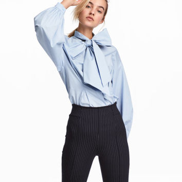 Cotton Blouse with Wide Tie - from H&M