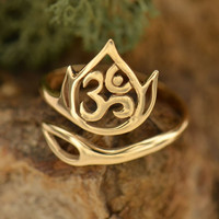 Lotus & Om Adjustable Ring- Bronze