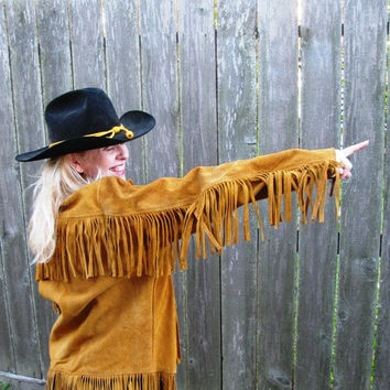 Vintage 1960's Leather Jacket Cowgirl Rodeo Babe Suede Fringe retro 60's Western Coat lined,  Annie Oakley Easy Rider Woman's Texana 34c