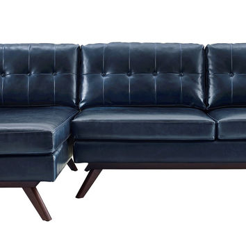 Blake Mid-Century Antique Blue Eco Leather LAF Sectional