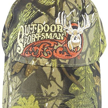 Outdoor Sportsman Light Green Camo Adjustable Baseball Hat Cap with Deer and Antlers