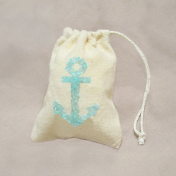 Wedding Favor Bags, Beach Wedding Favors, Anchor Favor, Teal Wedding Favor, Nautical Wedding Favor Bags, Beach Theme Wedding, Unique Wedding