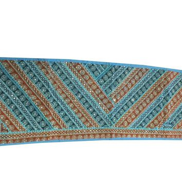 Home Decor Table Runner Blue/Brown Sequin Embroidered Table Decoration Tapestry …