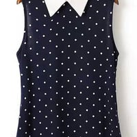 Navy Pointed Flat Collar Polka Dot Sleeveless Blouse