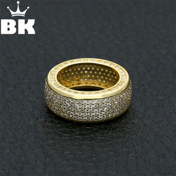 Copper Punk CZ Ring Hip Hop Mens  Micro Paved Cubic Zircon Finger Ring #8 #9 #10 #11