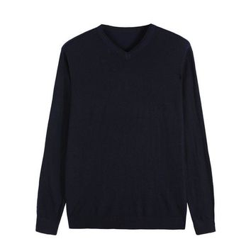 14Color Autumn Winter New Knitted Pullover Men Business Cashmere Sweater Men's Casual V-Collar Sweaters Brand Clothes