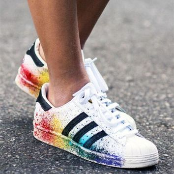 """Adidas"" Fashion Women Multicolor Shell-toe Flats Sneakers Sport Shoes"