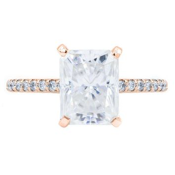 **NEW Radiant Crushed Ice Moissanite 4 Prongs Diamond Accent Ice Cathedral Solitaire Ring