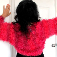 Pink fur shrug jacket, hand knit sweater shrug, hot pink Hollywood glamour outerwear, small