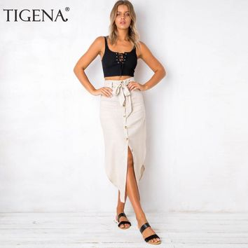 TIGENA Split Vintage Skirt Women 2018 Summer Asymmetrical Cotton Linen High Waist Long Maxi Skirt Female With Button Belt