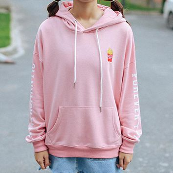 Autumn and winter campus wind casual kawaii french fries pattern embroidered loose cute letters printed hooded women sweatshirts