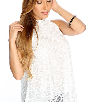 Sexy White Floral Mesh Lace Overlay Sleeveless Top